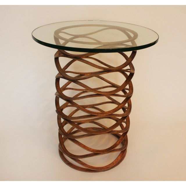 Modern Gold Leaf Bracelet Tables - A Pair For Sale In New York - Image 6 of 7