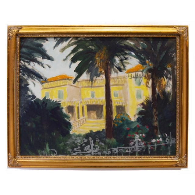 Expressionist Southern France Framed Watercolor by Frank Herrmann For Sale - Image 4 of 4