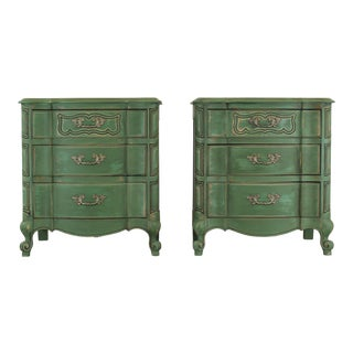 Pair of French Provincial Nightstands, Mid Century Nightstands, Green Nightstand, Shabby Chic Nightstands For Sale