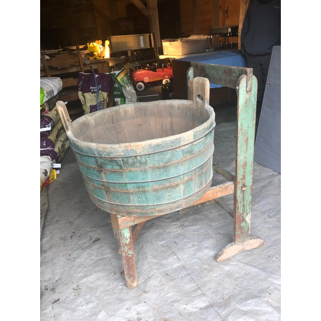 Wood Distressed Country Washing Barrel Tub and Stand For Sale - Image 7 of 13