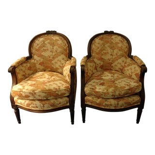 Antique Barrel Back Bergere Chairs - a Pair