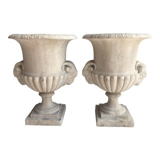 Vintage Belgian Cast Stone Medici Urns With Ram Heads, A-Pair For Sale