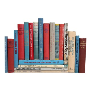 Nautical Book Collection in Red, White & Blue - Set of 20