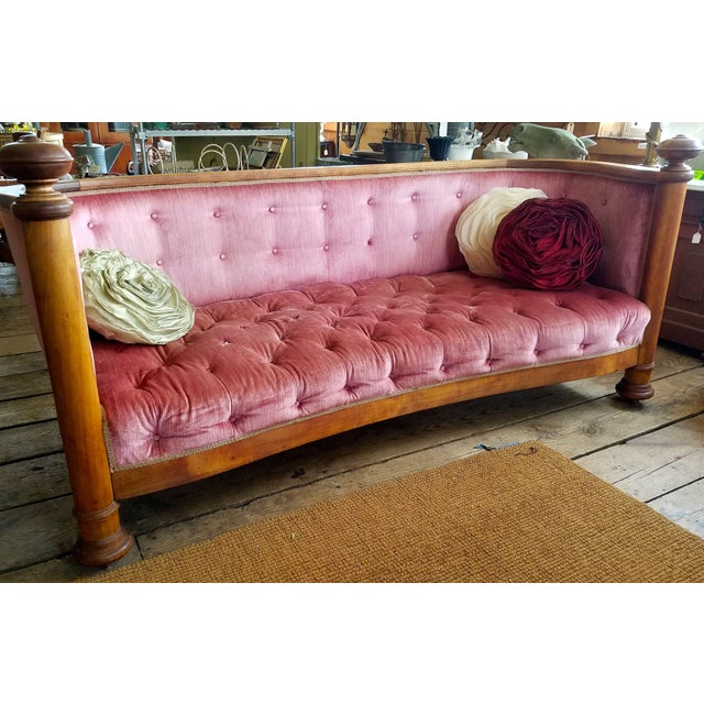 Maple Large Antique Maple and Velvet Sofa For Sale - Image 7 of 13