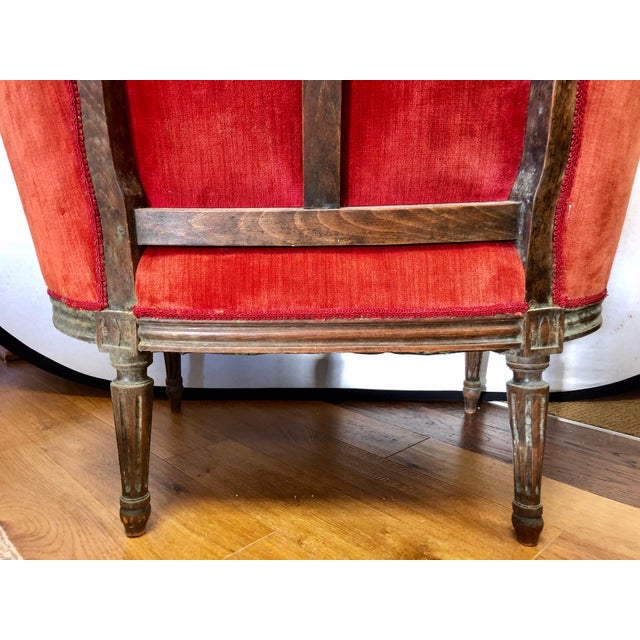 Fruitwood Pair of Belle Epoque French Louis XV Style Red Velvet Bergeres Chairs Armchairs For Sale - Image 7 of 12