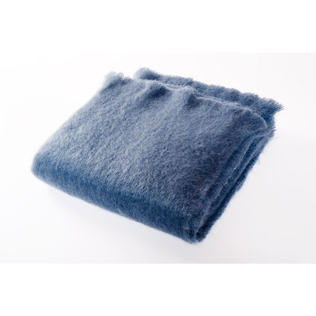 2010s Contemporary Luxe Mohair Denim Throw For Sale - Image 5 of 5