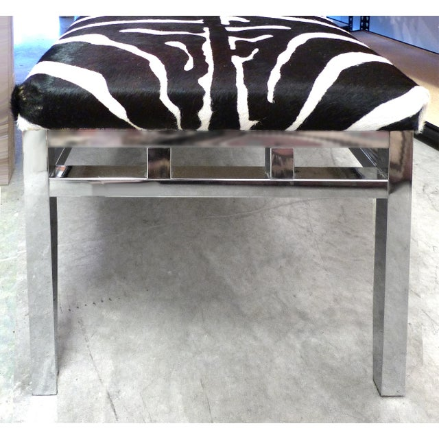 Zebra Hide Covered Mid-Century Bench For Sale - Image 4 of 7