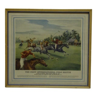 """The First International Polo Match"" Framed Original Print For Sale"