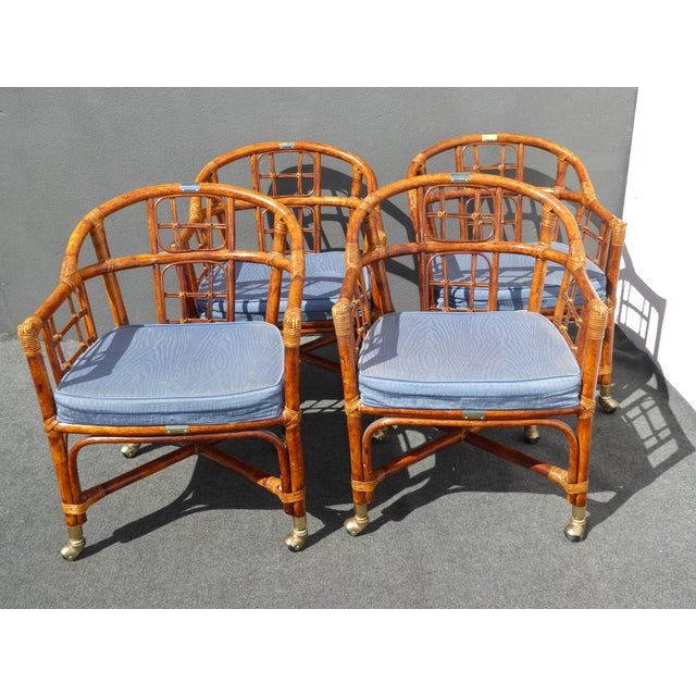 Mid-Century Modern Bamboo & Rattan Arm Chairs - 4 - Image 2 of 11