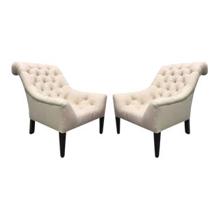 Pair of English Tufted Edwardian Style Lounge Chairs For Sale