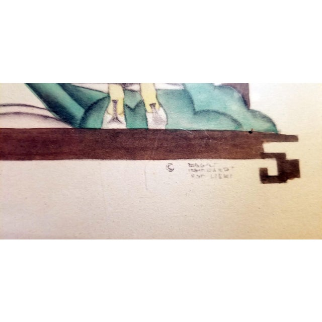 Early 20th Century Art Deco Mixed Media Paintings by Robert Reinhardt Von Liski - a Pair For Sale - Image 4 of 13