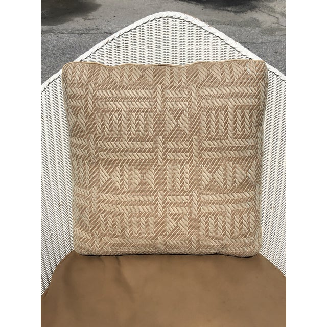 White wicker rocker with leather cushion and Hermès pillow. Great overall structure condition. Springs are in good...
