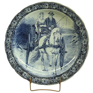 Plate, Boch Blue Delft Carriage Large White Black For Sale