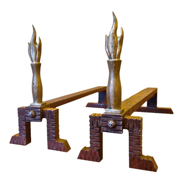 Raymond Subes Superb Quality Pair of Andirons For Sale