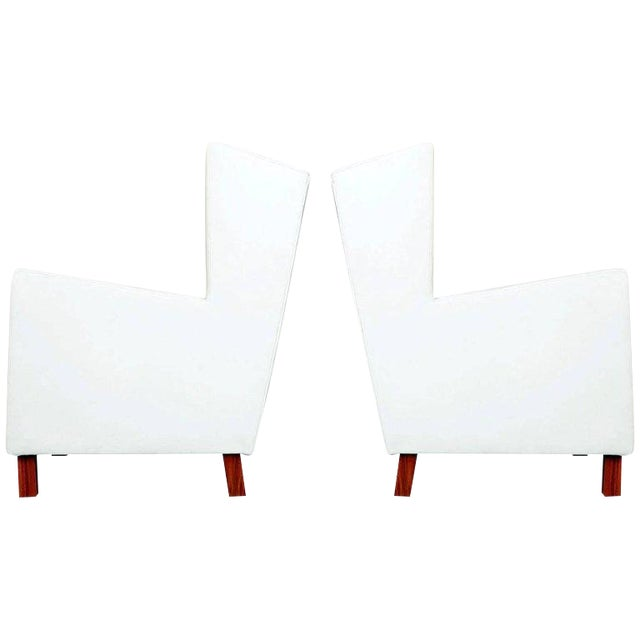 Jacaranda and White Leather Wingback Armchairs, Brazil, Circa 1960 For Sale