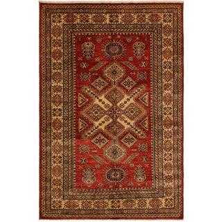 Super Kazak Garish Vanesa Red/Ivory Wool Rug - 4'10 X 6'5 For Sale