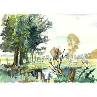 Tae, Pasture Watercolor For Sale