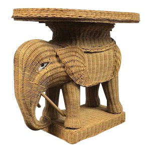 Vintage Woven Rattan Elephant Tray Table