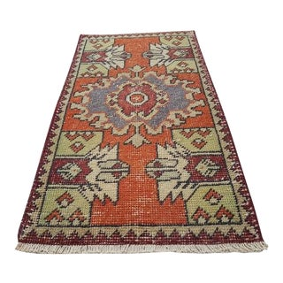 1970s Vintage Miniature Handwoven Turkish Rug - 1′6″ × 2′8″ For Sale