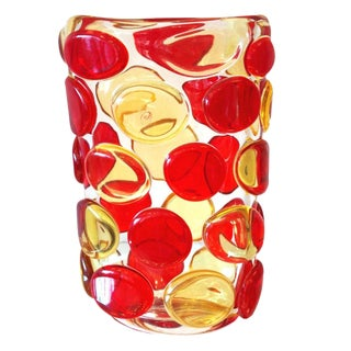 Murano Red and Yellow Button Vase by Camozzo For Sale