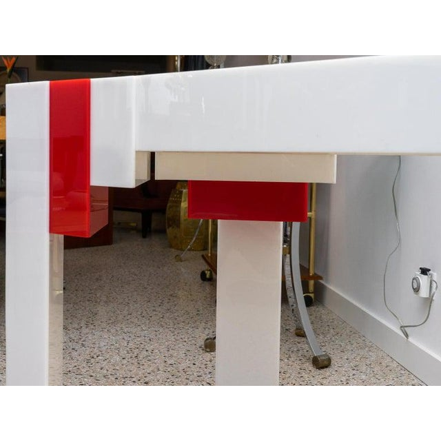 Lucite Console Table Red and White 1970s Art Deco Revival For Sale - Image 10 of 13