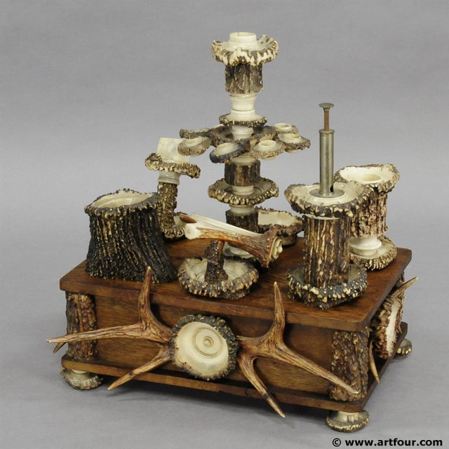Black An Elaborate Handmade Black Forest Style Smoking Set Ca. 1900 For Sale - Image 8 of 8