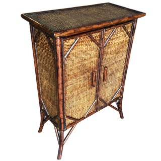 Restored Tiger Bamboo Cabinet With Rice Mat Covering For Sale