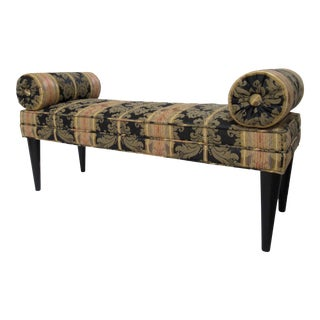 1990s Pierre Frey Damask Silk Covered Entry Foyer Bench With Attached Round Bolster Ends-Last Call For Sale