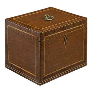 Antique English Mahogany and Rosewood Tea Caddy, Circa 1820 For Sale