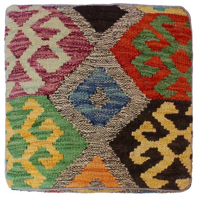Arshs Curt Black/Ivory Kilim Upholstered Handmade Ottoman For Sale In New York - Image 6 of 8