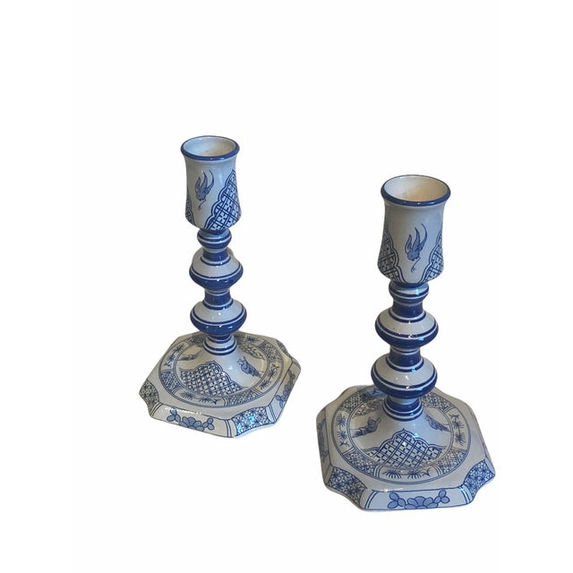 White Vintage Royal Goedewoagen Blue and White Hand Painted Candlesticks Made in Holland - Set of 2 For Sale - Image 8 of 8