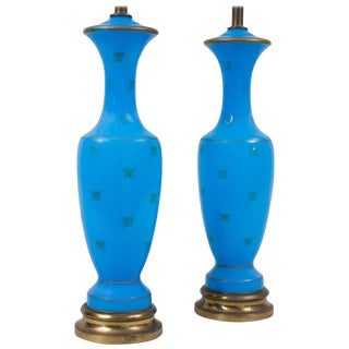 Blue Opaline Glass With Bee Decoration Lamps - a Pair For Sale