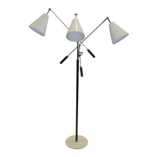 1960s Iconic Mid Century Modern Triennale Three Arm Articulating Floor Lamp For Sale