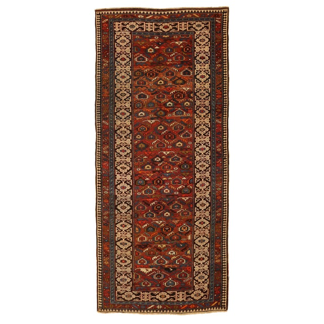Antique Persian Rug Shirvan Design With Dainty Heart-Shaped Patterns Circa 1930's - 4′2″ × 9′8″ For Sale - Image 12 of 12