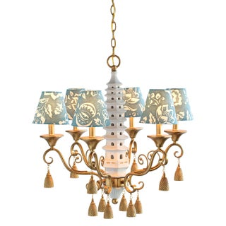Madcap Cottage Porcelain/Metal Chinoiserie Pagoda Chandelier With Tassels Preview