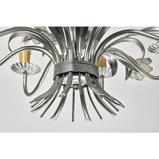 White Mid Century Modern Italian Tole Floral Eight Light Chandelier For Sale - Image 8 of 13
