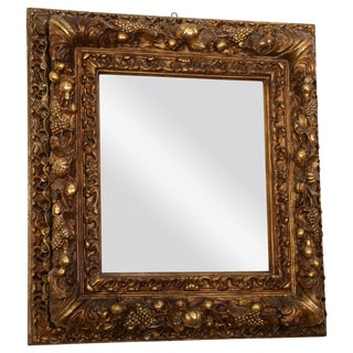 18th Century Italian Gilded Papier-Mâché Mirror For Sale