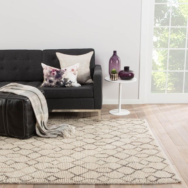 2010s Nikki Chu by Jaipur Living Leda Natural Trellis White & Gray Area Rug - 8' X 10' For Sale - Image 5 of 6