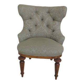 Victorian Style Green Upholstered Tufted Back Parlor Chair For Sale
