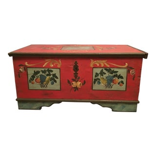 1900s Americana Hand Painted Blanket Chest For Sale