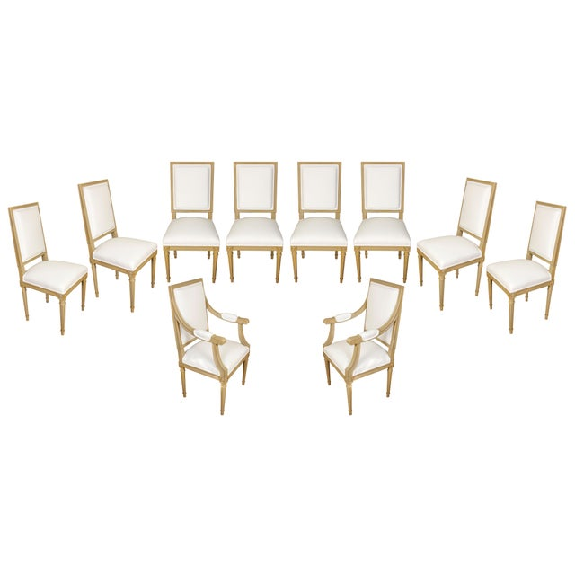 1950s Set of Ten Louis XVI Style Dining Chairs For Sale - Image 5 of 5