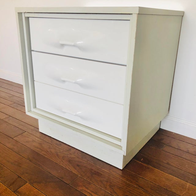 1970s 1970s Treco Space Age White 2 Drawer Nightstand For Sale - Image 5 of 5