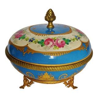 Antique French Gilt Bronze & Porcelain Sevres Jewelry Box / Potpourri For Sale