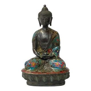 Chinese Metal Blue Enamel Cloisonné Sitting Meditation Buddha Statue For Sale