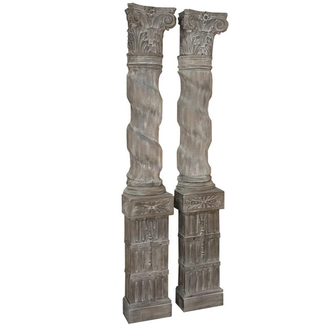 Pair French Architectural Corinthian Weathered Oak Hand Carved Columns, Ca. 1890s For Sale - Image 13 of 13
