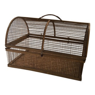 Hinged Large Bamboo Basket