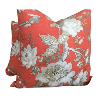 Thibaut Nemour Pillow Covers in Coral and Taupe - a Pair For Sale