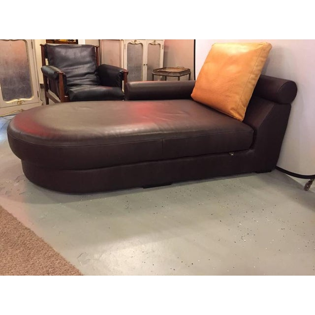 Roche bobois brown leather chaise longue or daybed chairish for Chaise roche bobois