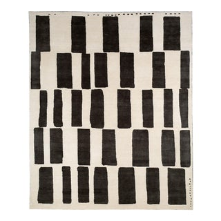 Black and White Tibetan Wool and Silk Area Rug- 5′6″ × 10′2″ For Sale