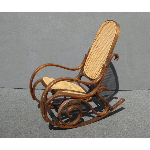 bentwood cane back rocking chair in the style of michael thonet chairish. Black Bedroom Furniture Sets. Home Design Ideas